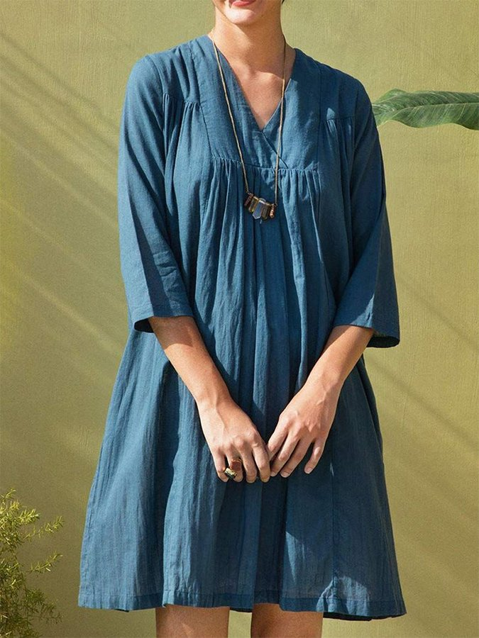 Solid Casual Linen V Neck Dresses