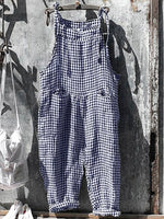Shift Pockets Casual Plaid Spaghetti-Strap Jumpsuit