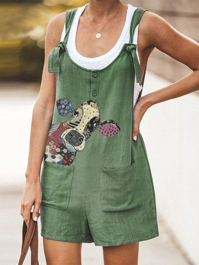 Plus Size Spaghetti-Strap Pockets Cow Printed Jumpsuit
