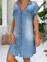 Blue Casual Solid Denim Shirt Collar Dresses