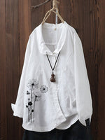 Long Sleeve Floral Casual Shift Shirts & Tops