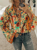 Shift Long Sleeve Floral Holiday Shirts & Tops