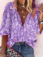 Buttoned Shift Floral Half Sleeve Shirts & Tops