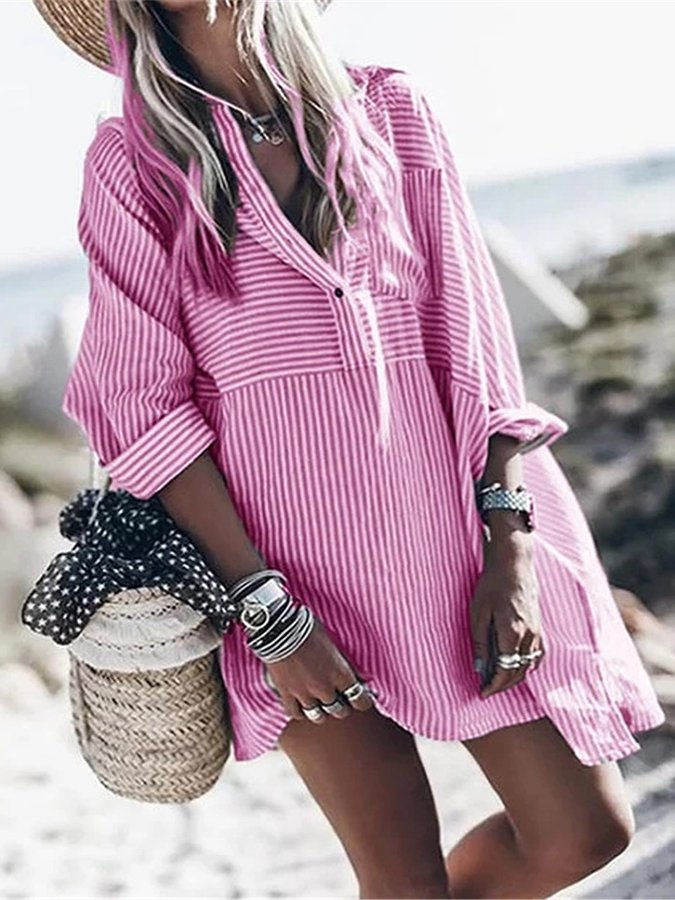 Striped Long Sleeve Lapel Pocket Plus Long Shirt