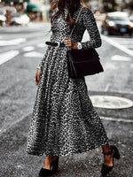 Holiday Leopard Print Crew Neck Dresses