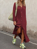 Long Sleeve Shirt Collar Casual Solid Dresses