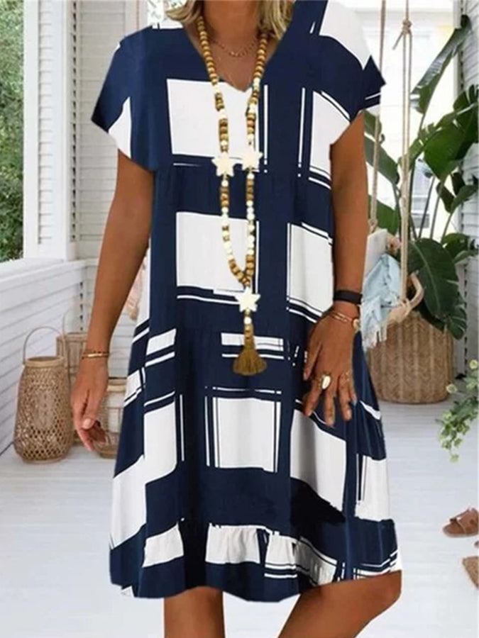Short Sleeve Casual Crew Neck Dresses