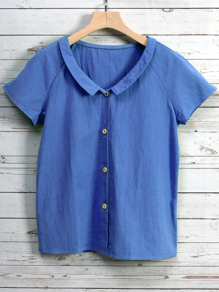 Casual Turn-down Collar Short Sleeve Buttoned Blouse