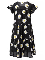 Black Crew Neck Printed Short Sleeve Dresses