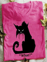 Casual Cat Printed Short Sleeve Crew Neck Shirts & Tops