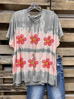 Gray Cotton-Blend Short Sleeve Crew Neck Shirts & Tops