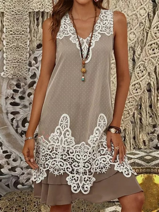 Lace Stitching Sleeveless Casual Dress