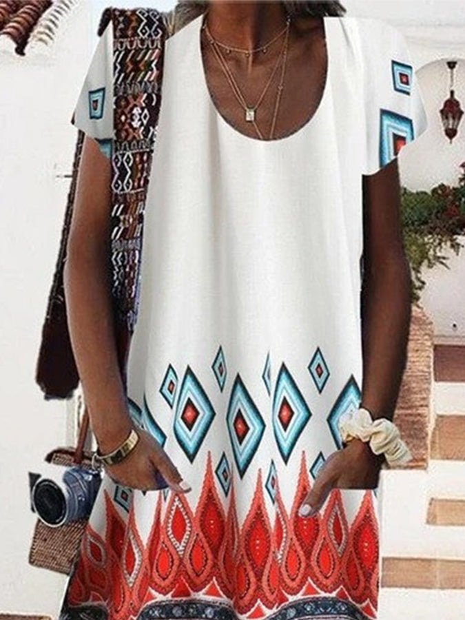 Pockets Round Neck Holiday Dresses