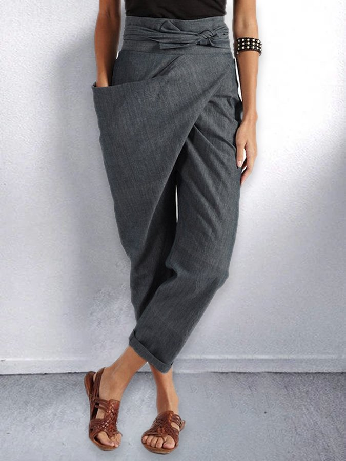 Gray Statement Asymmetrical Pants