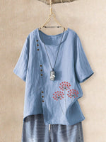 Floral Short Sleeve Holiday Asymmetrical Shirts & Tops