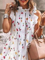 High Temperature Setting Casual Floral Frill Sleeve Dresses