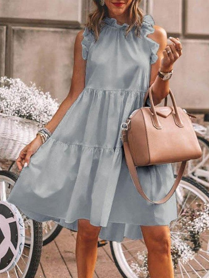 Stand Collar Casual Solid Dresses