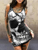 Holiday Sleeveless Skull Printed Dresses