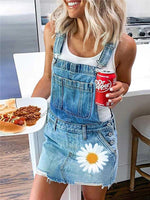 Pockets Spaghetti-Strap Floral Holiday Denim Dress