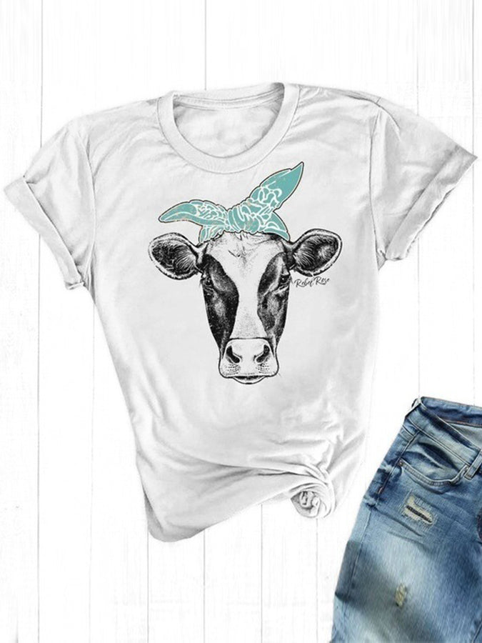 Short Sleeve Cartoon Cow Printed T-shirt