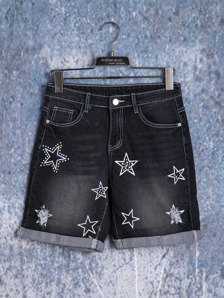 Ripped Star Printed Plus Size Shorts