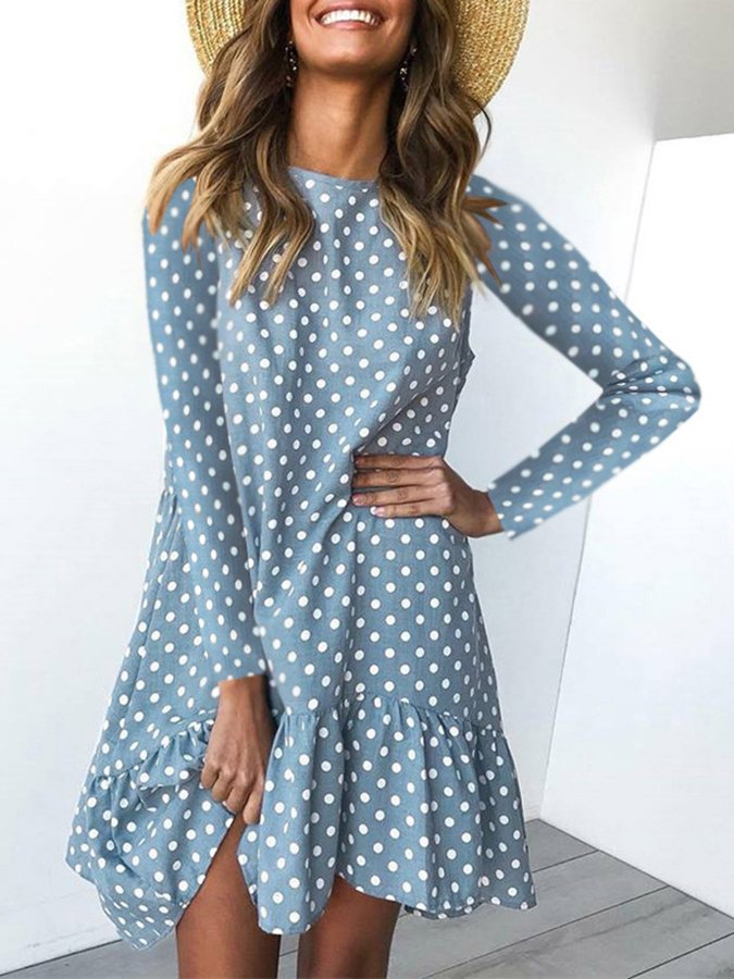 Holiday A-Line Long Sleeve Polka Dots Dresses