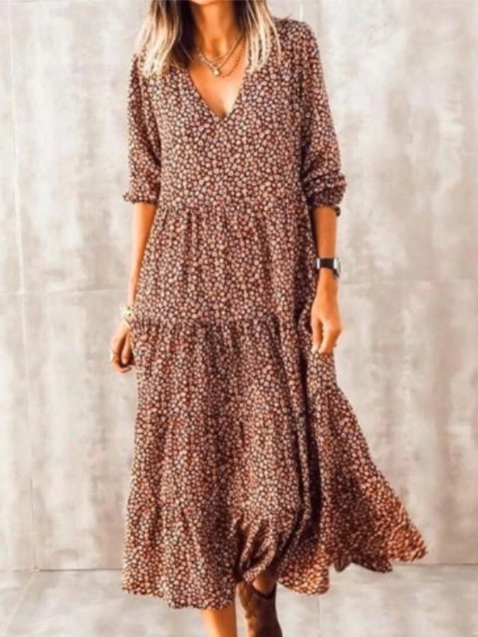 Brown Long Sleeve V Neck Holiday Dresses