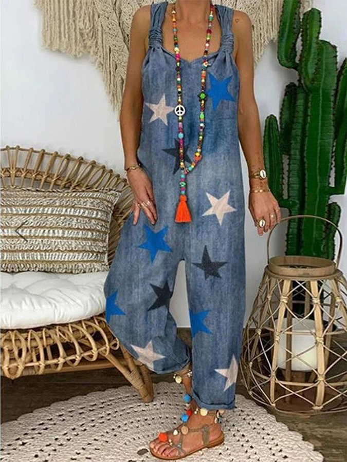 Hand-painted Printed Denim Jumpsuit