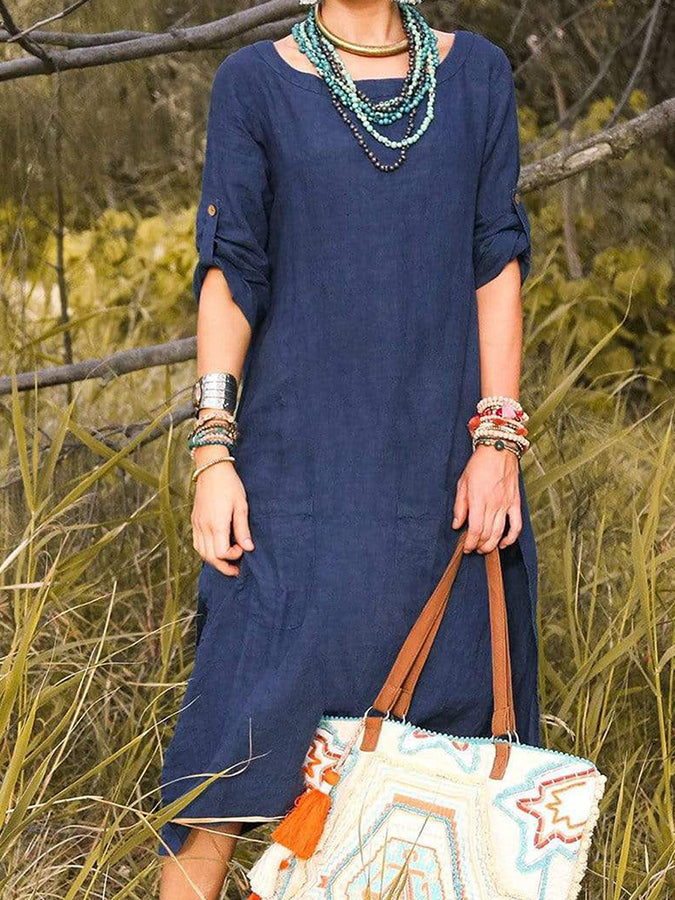 Purplish Blue Half Sleeve Shift Dresses