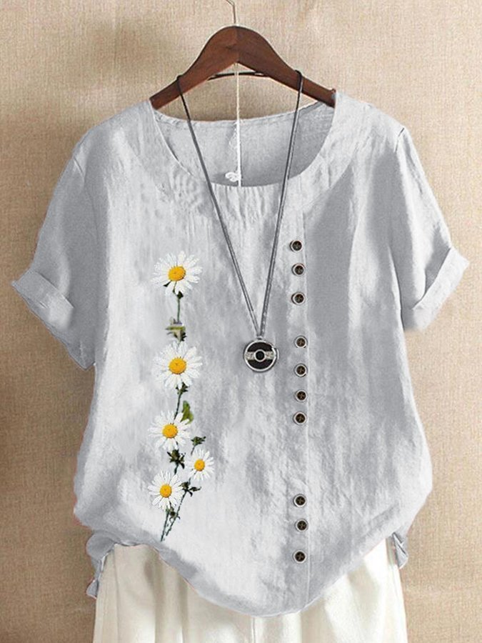 Casual Linen Short Sleeve Shirts & Tops