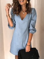 Casual V Neck Solid Denim Dresses