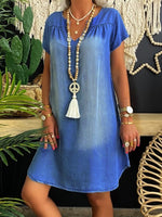 Solid Short Sleeve Denim Holiday Dresses