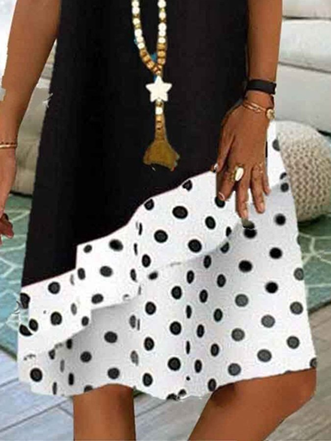 Casual & Stitching Polka Dot Dress