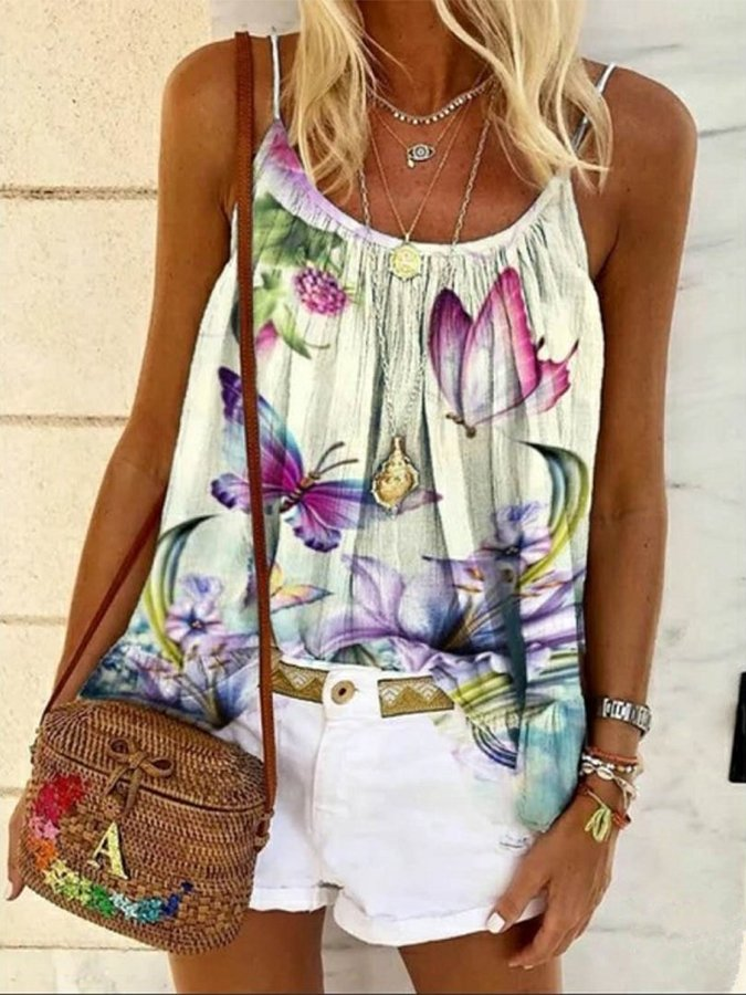 Spaghetti & Butterfly Print Casual Top