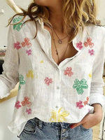 White Casual Floral Long Sleeve Shirts & Tops