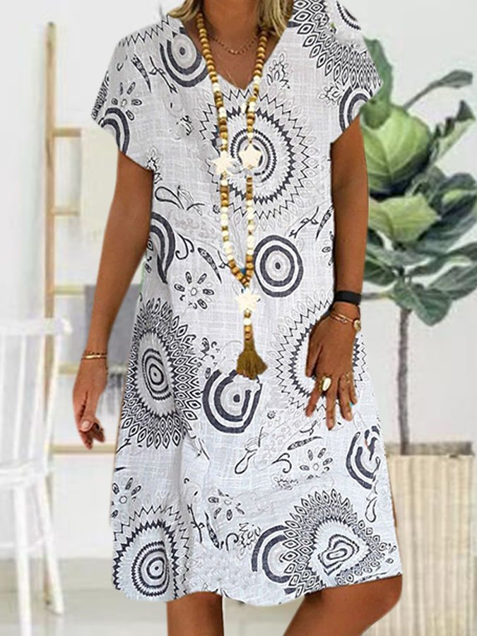V Neck Short Sleeve Printed A-Line Dresses