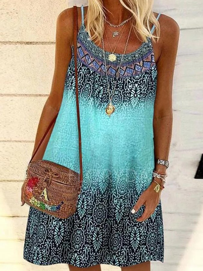Blue Sleeveless Tribal Spaghetti Printed Dresses