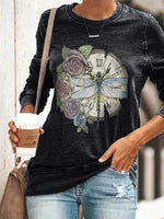 Long Sleeve Casual Animal Shirts & Tops
