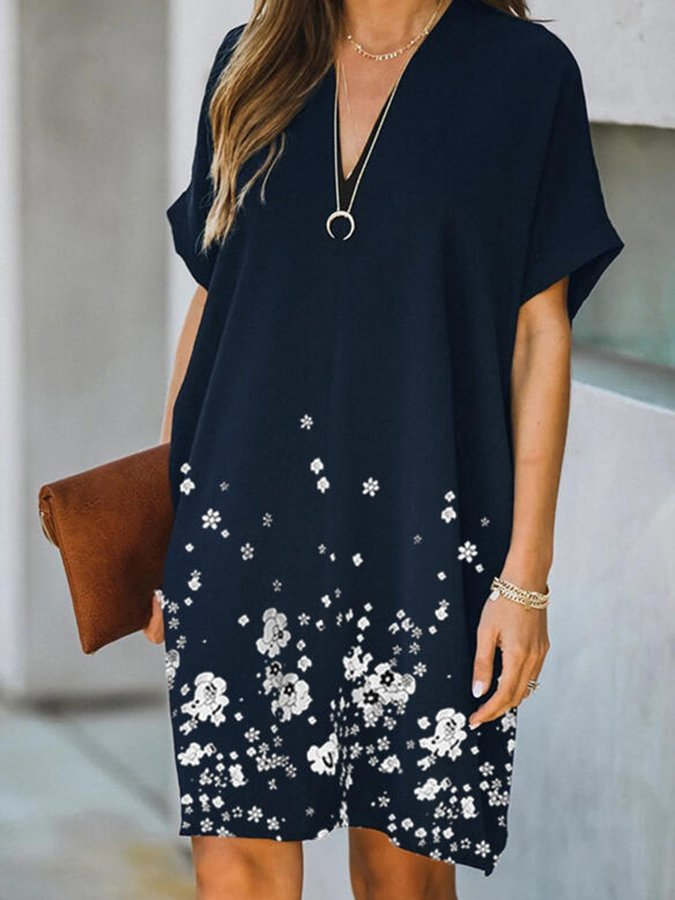 Navy Shift Floral Printed Short Sleeve V Neck Dresses