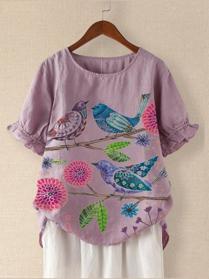 Retro Printed Short Sleeve Top