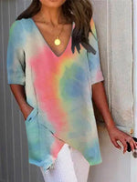 Multicolor Ombre/tie-Dye Shift V Neck Casual Shirts & Tops