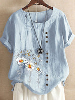 Crew Neck Floral Short Sleeve Cotton Shirts & Tops