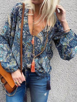 Blue Shift V Neck Long Sleeve Tribal Shirts & Tops