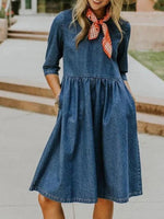 Deep Blue Crew Neck 3/4 Sleeve Pockets Dresses