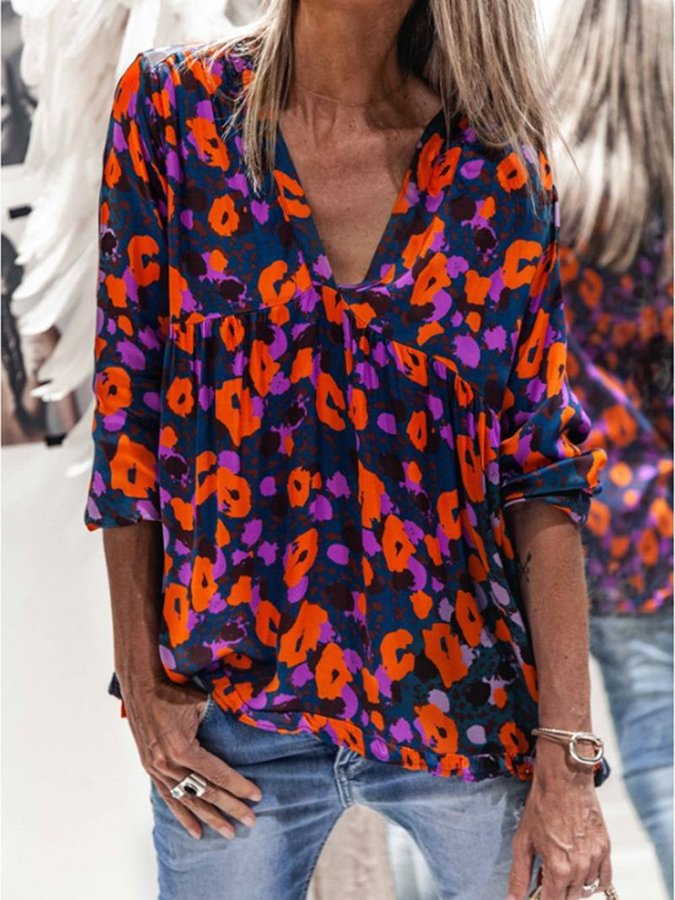 Deep Blue Boho V Neck Shirts & Tops