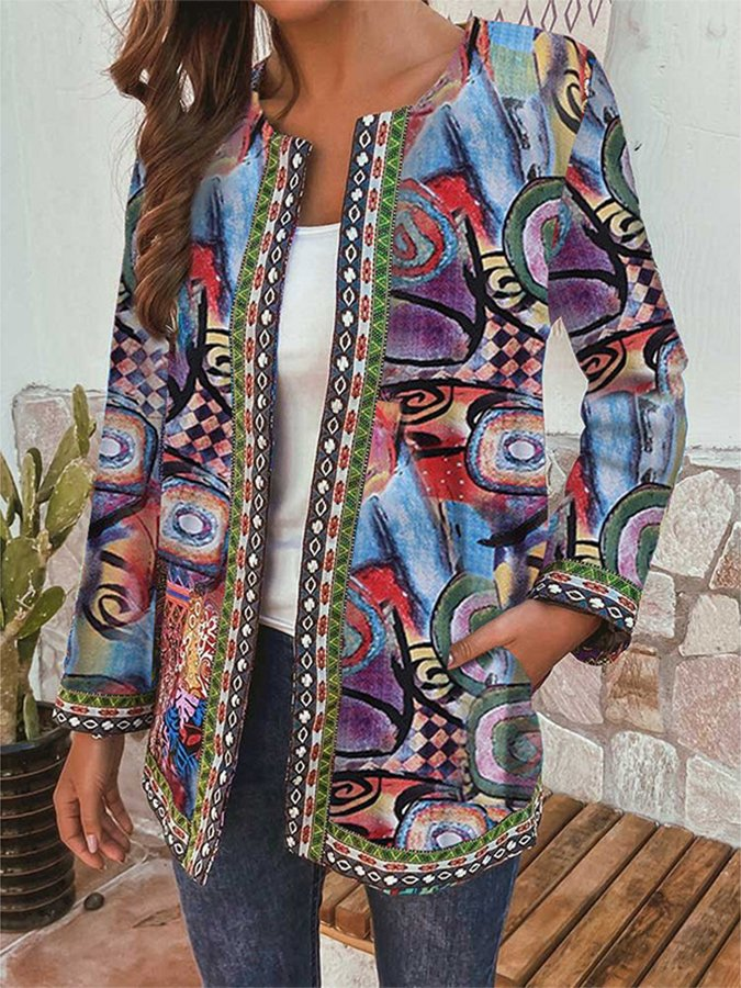 Retro Ethnic Printed Long Sleeve Jacket