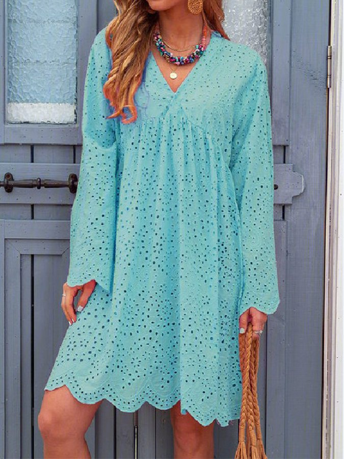 Women's Hollow V-Neck Long Sleeve Dress