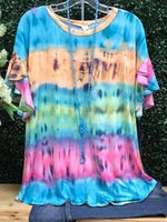 Blue Ombre/tie-Dye Printed Short Sleeve Shirts & Tops