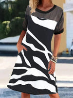 Black Crew Neck Geometric Shift Short Sleeve Dresses