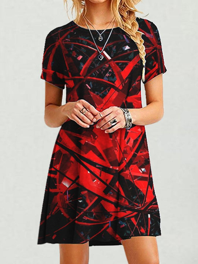 Casual Short Sleeve Crew Neck Abstract Dresses